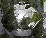 The Urban Zen Floating Oil Lamp, Windy Ripple Textured Body, Hammered and Polished Stainless Steel, Raised Wick Holder, Extinguishing Cap and Wick, 8 Inches in Diameter, (Oil Not Included) By WHW