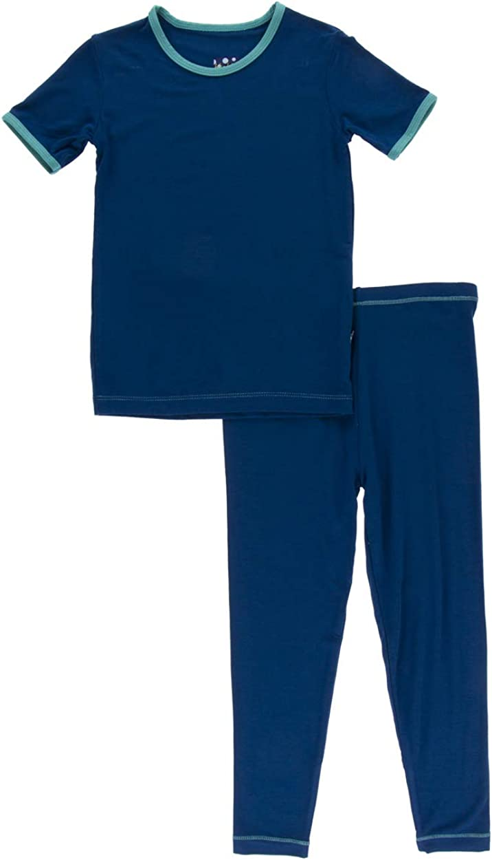 Kickee Pants Little Boys Solid Short Sleeve Pajama Set 3T Navy with Neptune