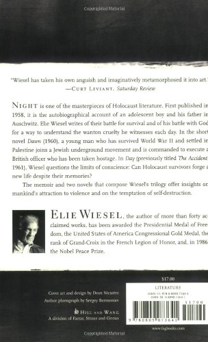 "how elie wiesels book dawn relates to his own life Dawn, by elie wiesel is an excellent book that examines many issues, especially on good and evil, forgiveness, spirituality and identity ""there are not."
