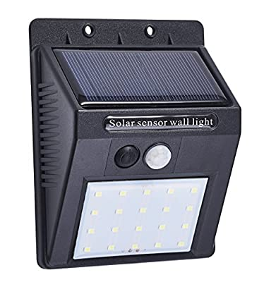 Wosen Solar Lights Outdoor, 20 LED Outdoor Motion Sensor Light with Motion Activated Auto On/Off, Waterproof Security Lights for Wall, Garden, Patio, Driveway, Garage