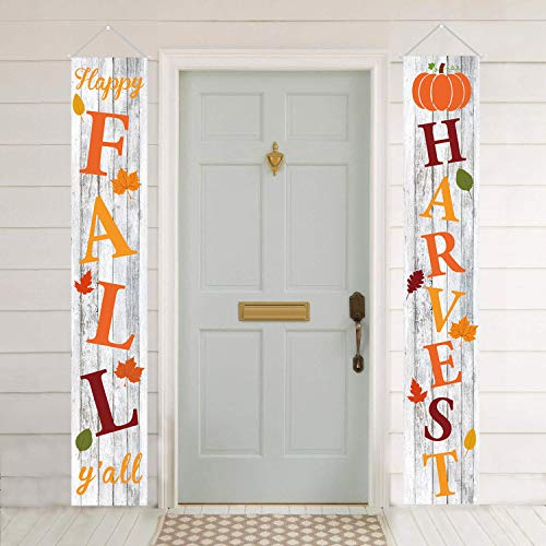 Mosoan Fall Decorations Fall Porch Sign - Happy Fall Y'all Banner Harvest Front Door Vertical Sign - Autumn Thanksgiving Hanging Banner Flag for Yard Indoor Outdoor