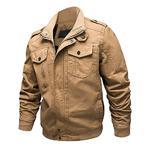 Dwar Men's Casual Long Sleeve Full Zip Jacket with Shoulder Straps (Large, ()