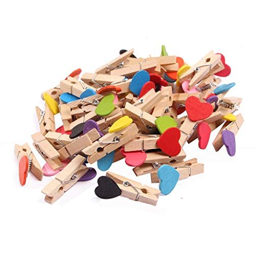 Fan-Ling 50pcs Clips,Love Heart Small Wooden Clothespin ,Craft Clips DIY Photo Cards Peg,Pastoral Style Clips (Clamps Plastic Loom)