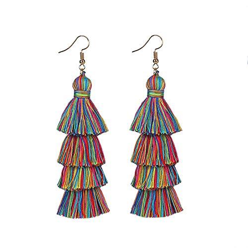 (Neon Tiered Long Tassel Earrings Women Fringe Earrings Stacked Tassels Dangle Earrings)