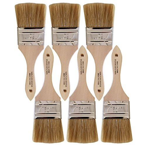 Heritage Products Natural Bristle Chip Brushes with Wood Handles (2 Inch, Pack of ()