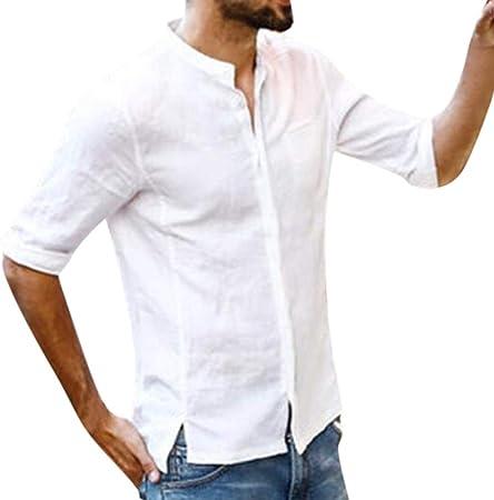 YpingLonk Camisa de los Hombres Top Moda Botón de Verano Casual Manga de Lino Algodón Top Simple Botón Color sólido Frente Camisa Irregular: Amazon.es: Hogar