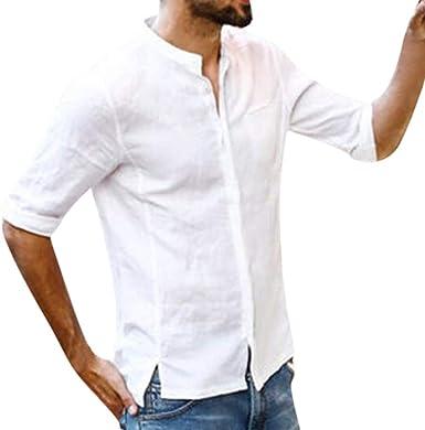 Fannyfuny camiseta Hombre Verano Camisas Casual Cuello en V Camisetas Manga Corta Botón en Slim para Camisa Ocio Color Sólido Moda Blusa Superior Retro Henley Camisas: Amazon.es: Ropa y accesorios