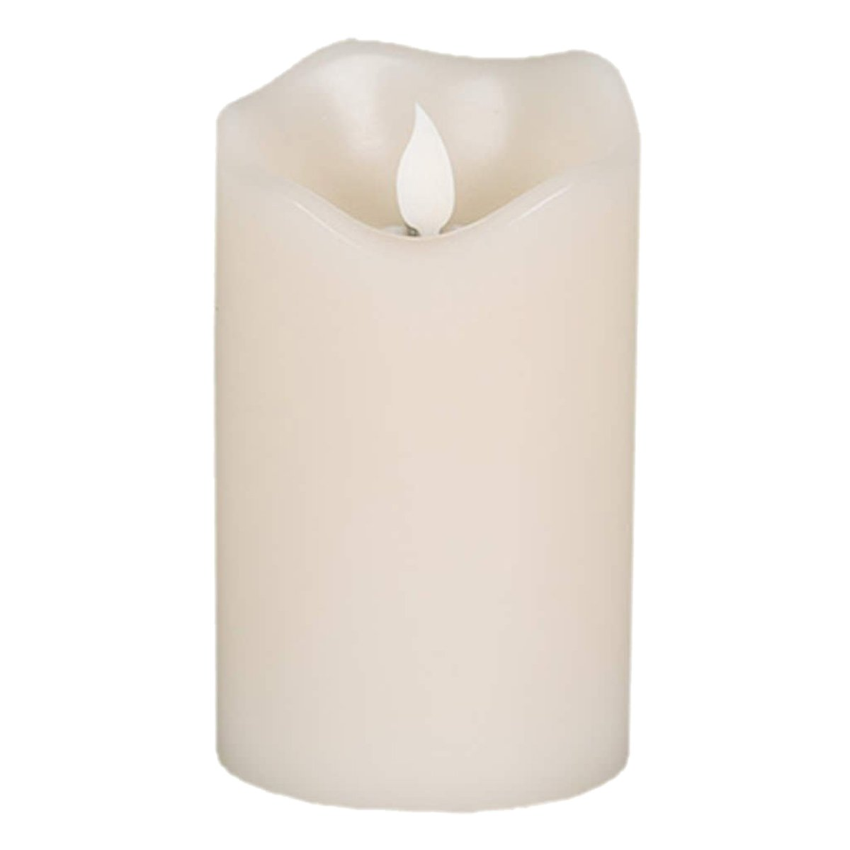 Gerson 3 x 5 Inch Battery Operated Ivory Faux Flickering Flame Wax LED Candle With Timer-Vanilla Scented