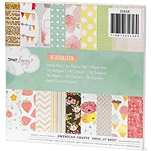 American Crafts Paper Pad, 6 by 6-Inch, Dear Lizzy