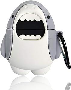 KAKBKOY BNBY Airpods Silicone Case for Apple Airpods 1 & 2 Cartoon Pattern 350 Corgi Drone Xin Ramen Shark Guitar [Best Gift for Friends] (Shark)