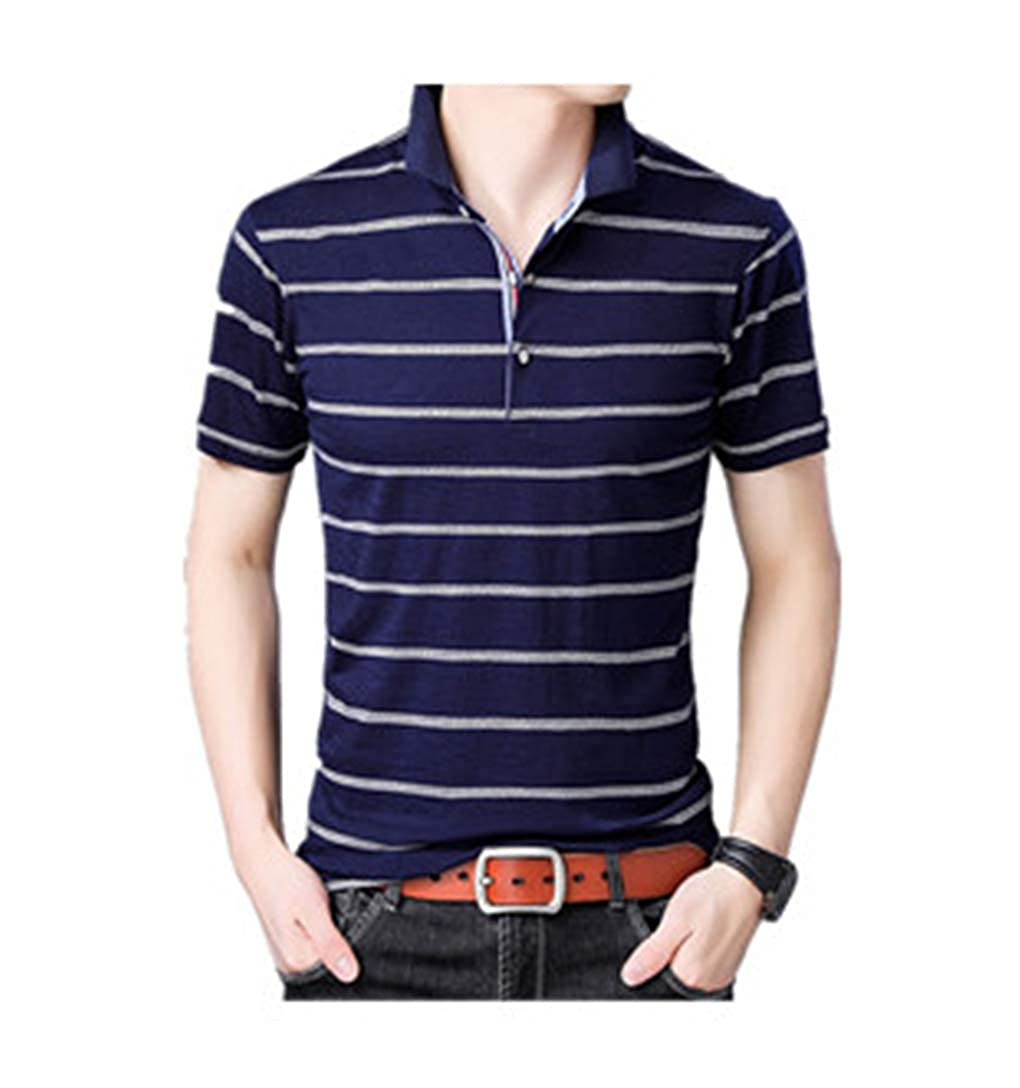HYAO Summer Mens Short-Sleeved T-Shirt Lapel Thin Striped Polo Shirt