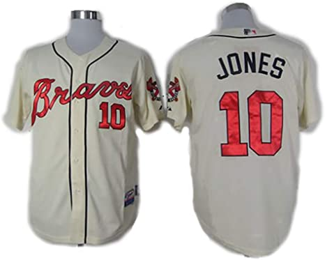 Chaqueta de béisbol para Hombre Chipper Jones No. 10 Braves, la Camisa Bordada campeona del excelente Tercera Base: Amazon.es: Deportes y aire libre