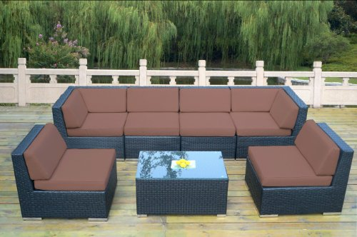 Ohana 7 Piece Outdoor Patio Furniture Sectional Conversation Set