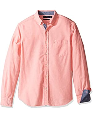 Men's Long Sleeve Button Down Solid Oxford Shirt