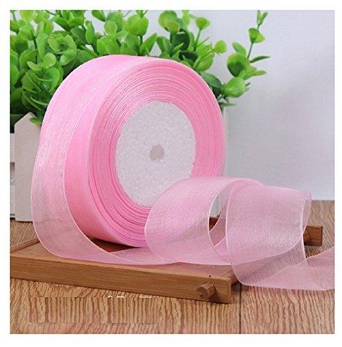 HG-X Pink Colors Premium Quality Shimmer Sheer Organza Ribbon Chiffon Ribbon-50 Yards - Wholesale Organza Ribbon