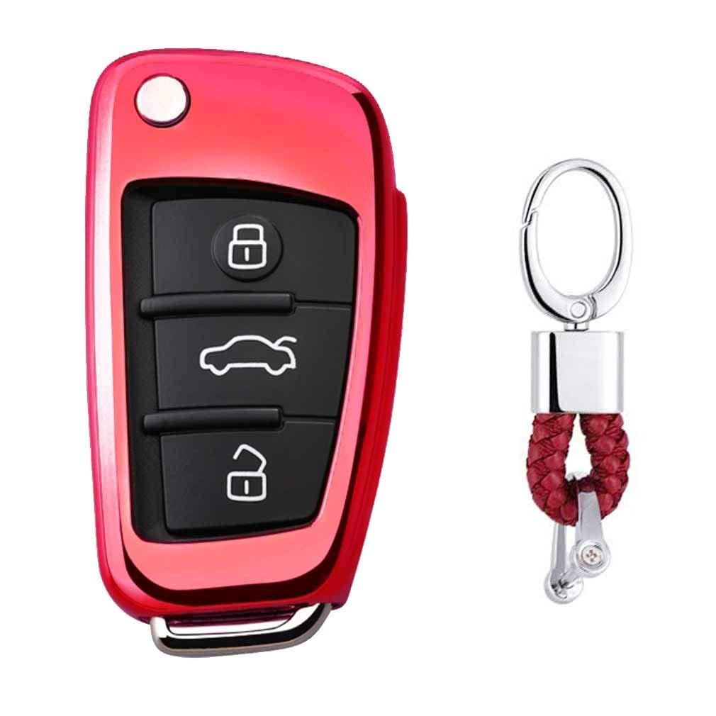 Pink Premium Soft TPU Car Key Case Shell Cover with Key Chain for Audi A1 S1 A3 S3 RS3 A4 S4 RS4 A6 S6 RS6 Q2 Q3 Q5 Q7 TT TTS