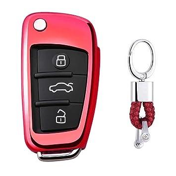Rojo Funda de TPU Suave para Llave + Llavero para Coche Audi A1 S1 A3 S3 RS3 A4 S4 RS4 A6 S6 RS6 Q2 Q3 Q5 Q7 TT TTS