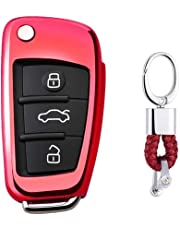 First2savvv Red Premium Soft TPU Car Key Case Shell Cover with Key Chain for Audi A1 S1 A3 S3 RS3 A4 S4 RS4 A6 S6 RS6 Q2 Q3 Q5 Q7 TT TTS