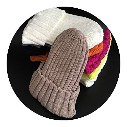 Winter Female Fur Pom Poms hat Winter Hat for Women Girl's Hat,Khaki,Kid Size
