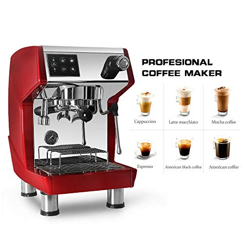 TRUSTME Commercial Espresso Coffee Machine With Descale Button 1.7L Water Tank Red 15bar 220V/60Hz