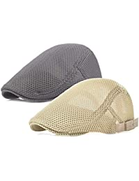 5e7e5a14 2 Pack Men Breathable Mesh Summer Hat Newsboy Beret Ivy Cabbie Flat Cap