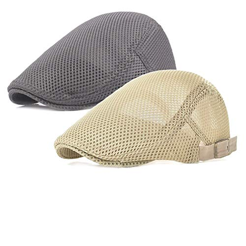 Ousipps 2 Pack Men Breathable Mesh Summer Hat Newsboy Beret Ivy Cabbie Flat Cap