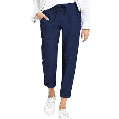 AmaSells - Pantalones de Encaje para Mujer, para Uso Diario, Casual, Pantalones de Color sólido, elásticos Sueltos, Pantalones Largos, algodón y poliéster, S ~ XL: Ropa y accesorios