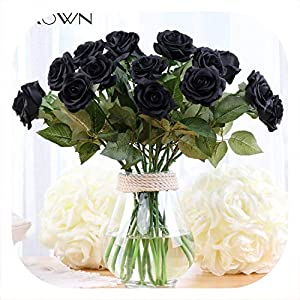 Memoirs- Simulation High Grade Rose Branch Artificial Real Touch Rose Wedding Decor Fake Flower Moisturizing Black Rose Home Decor 51