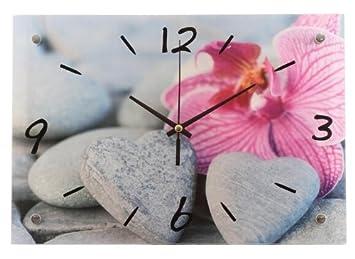 Grande horloge double paroi en verre zen galets en cœur et fleur ...