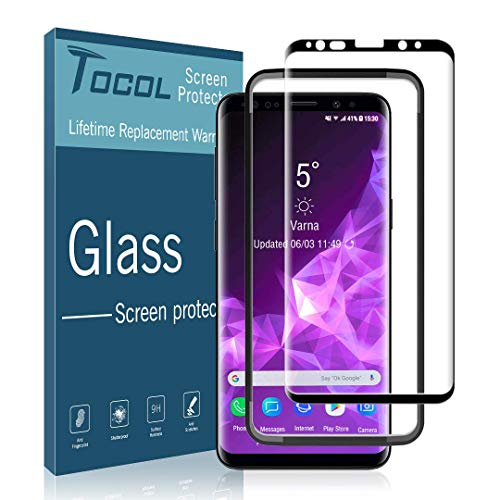TOCOL Screen Protector for Samsung Galaxy S9 Tempered Glass HD Clear 3D Curved Easy Installation Tray 9H Hardness Anti-Scratch Anti-Bubble with Lifetime Replacement Warranty