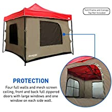 Attaches to any 10'x10' Easy Up Pop Up Canopy Tent -4 Walls, Mesh Ceiling, PVC Floor, Two Doors and Four Windows - Pop Up Camping Tent - Tent Room - Family Tent -TENT FRAME AND CANOPY NOT INCLUDED