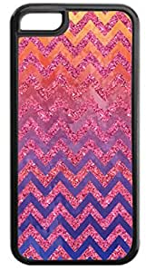 Pink Glitter-Look Chevrons on Pink/Purple Watercolors- Case for the APPLE IPHONE 6 PLUS ONLY-Soft Black Rubber Outer Case