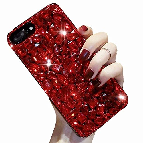 HTC One A9 2015 Release Full Crystal Diamond Case, 3D Handmade Luxury Sparkle Crystal Rhinestone Diamond Glitter Bling Clear TPU Silicone Case Cover HTC One A9/HTC Aero (Red/Hong)
