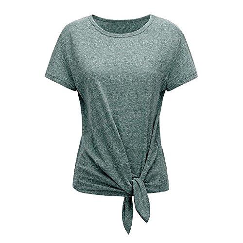 Laimeng_World Summer Tees for Women Women's Casual Short Sleeve Solid O-Neck T-Shirt BlouseTops (Green,XL)