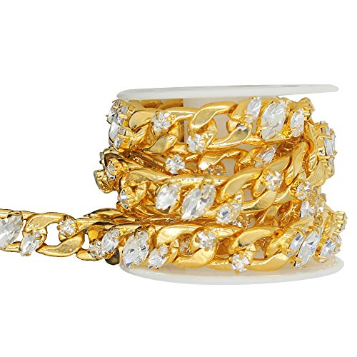 SHINYTIME Rhinestone Trims 1 Yard Sew-On Plastic Gold Pearl Rhinestone Trim for Bridal Embellishments Banding for Wedding Cakes, Birthday Decorations Valentines Ideas for her