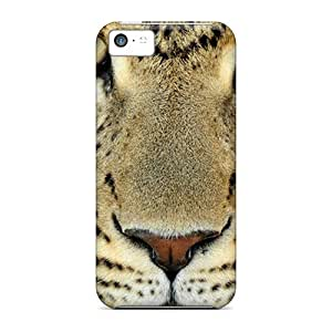 Rugged Skin Case Cover For Iphone 5c- Eco-friendly Packaging(leopard Face)