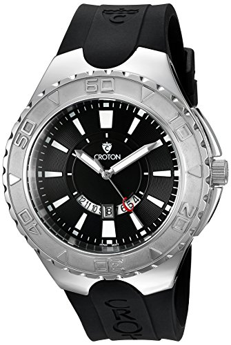 Croton Mens Stainless Steel Watch (CROTON Men's 'SUPER' Quartz Stainless Steel and Silicone Casual Watch, Color:Black (Model: CA301287BSWH))