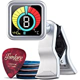 TimbreGear Chromatic Clip-On Guitar Tuner + Free 20 Pack Premium Guitar Picks Sampler In Thin, Medium & Heavy Gauge For - Acoustic Guitar, Electric Guitar, Bass Guitar, Ukulele, Violin, (Silver)