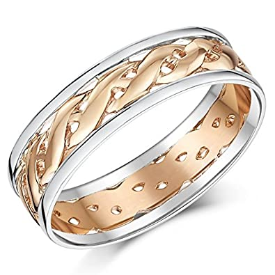 9ct Two Colour Rose Gold Celtic Wedding Ring Band 6 mm 7 mm Amazon