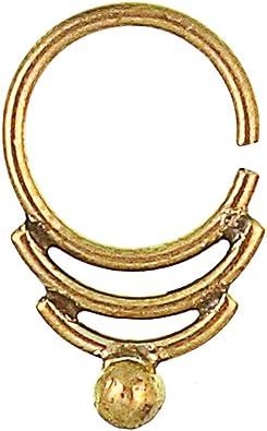 Amazon Com Septum Piercing Nose Rings Arcs Ball Brass Tribal Gold