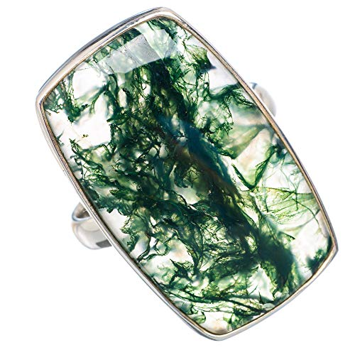 Large Green Moss Agate Ring Size 9.75 (925 Sterling Silver) - Handmade Boho Vintage Jewelry RING910840 ()