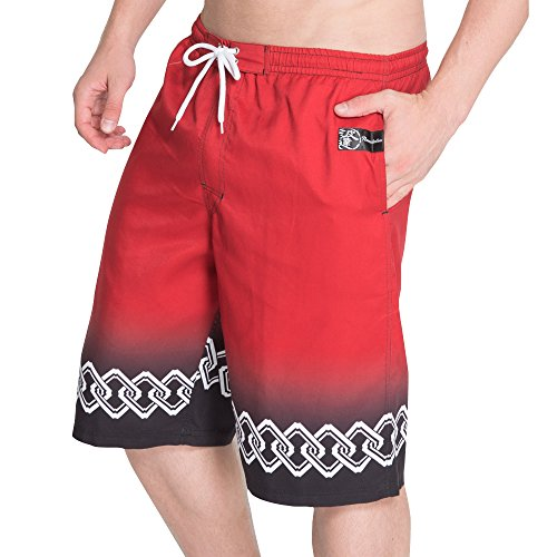 NAMITATSU Surf Pants - Japanese Hem Pannel Print (3L, Red) X114-752
