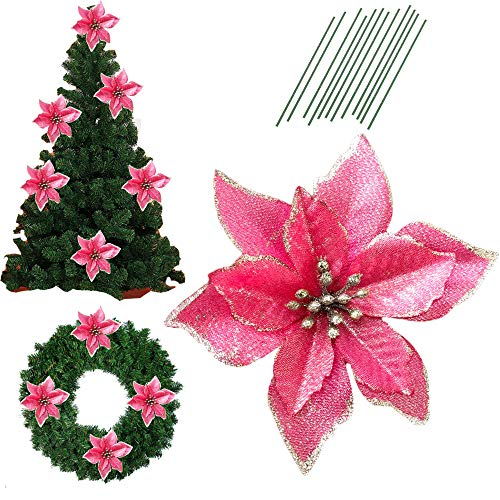 5 Inch Glitter Artifical Wedding Christmas Flowers Glitter Poinsettia Christmas Tree Ornaments Pack of 12 (Pink) (Pink Glitter Flower)
