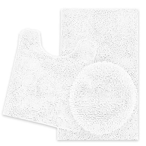 ITSOFT 3pc Non-Slip Shaggy Chenille Bathroom Mat Set, Includes U-Shaped Contour Toilet Mat, Bath Mat and Toilet Lid Cover, Machine Washable, White