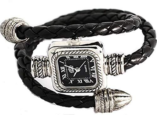 Bangle Wrap Leather Around Watch - Readeel® Black Cable Leather Braided Wrap Around Ladies Womens Bracelet Bangle Wrist Watch