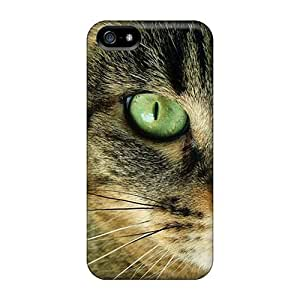 Rugged Skin Case Cover For Iphone 5/5s- Eco-friendly Packaging(cat Closeup)