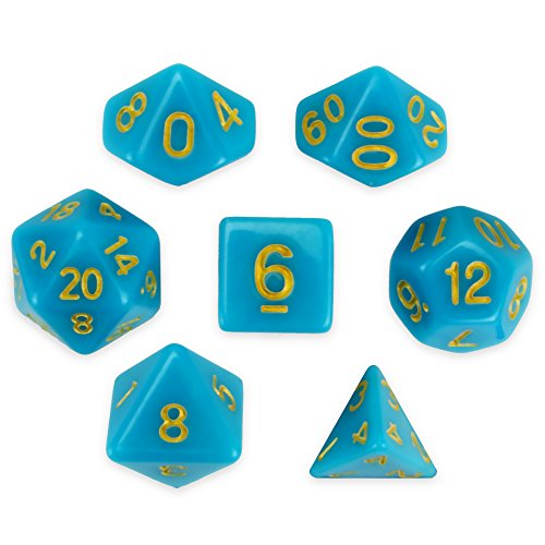 - Wiz Dice Skystone Set of 7 Polyhedral Dice, Solid Blue Turquoise Tabletop RPG Dice with Clear Display Box