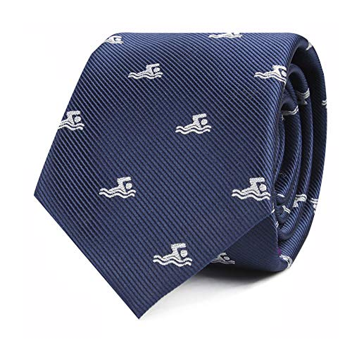 Swimming Tie | Woven Skinny Swimmer Neckties | Work Ties for Him | Bday Gift for Guys (Swimming)