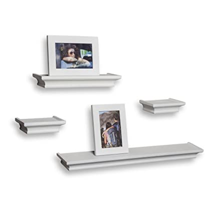 Amazon.com: Danya B 4-Pc Ledge Shelves with Two Photo Frames in ...