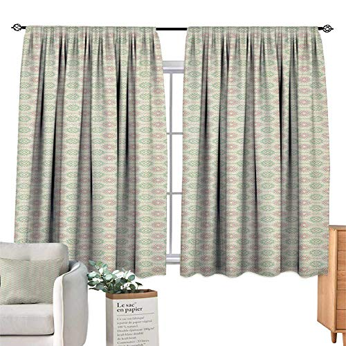 (familytaste Ethnic,Kitchen Curtains Russian Ukrainian and Scandinavian National Knit Styled Pattern in Pastel Colors Decorative Curtains for Living Room W55 x G39)